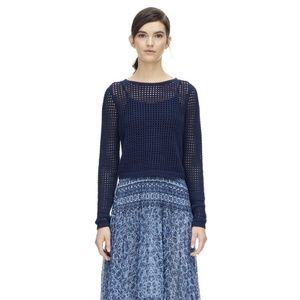 Rebecca Taylor Mesh Knit Pullover Crop Sweater
